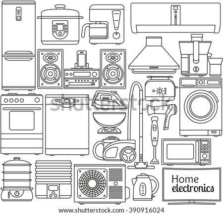 Set of line icons. Home appliances. Oven and toaster, fridge and freezer, stove and dishwasher. Contour icons. Info graphic elements. Simple design. Isolated on the white. Vector illustration  - stock vector