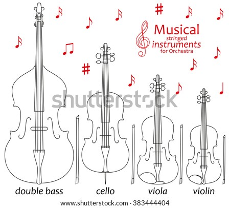 Set of line icons. Musical stringed instruments for orchestra. Info graphic elements. Simple design. Good for coloring books. Vector illustration