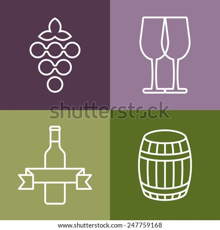 Set of line icons. Wine bottle, grape and glass vector logo design. Concept for bar menu, party, alcohol drinks, celebration holidays, winery, restaurant. - stock vector
