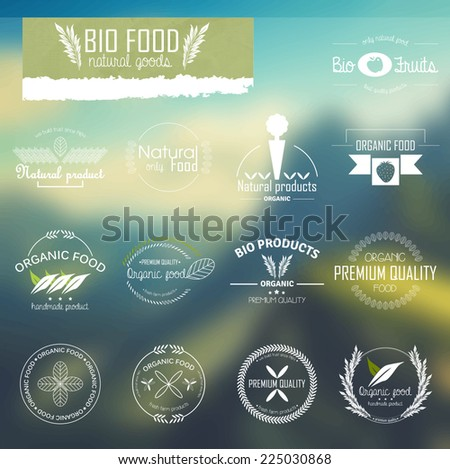 Set of line labels for bio, organic and natural food. Badges and labels for eco food promotional material. - stock vector
