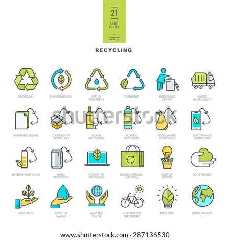 Set of line modern color icons for recycling     - stock vector
