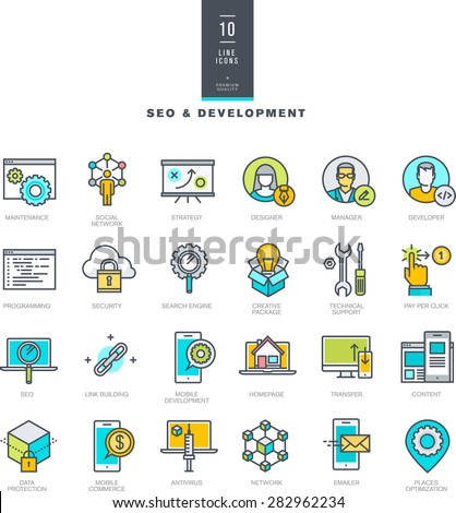 Set of line modern color icons for SEO and development - stock vector