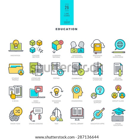 Set of line modern color icons on the theme of education     - stock vector