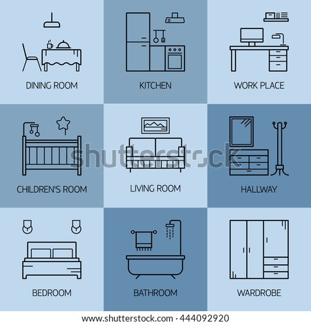 Set Of Line Vector Interior Design Room Types Icons Linear Style Illustrations Living