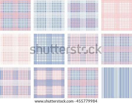 Set of line Vector seamless pattern.Pink, white and blue background. Trendy color Rose Quartz and blue serenity. Checkered. - stock vector