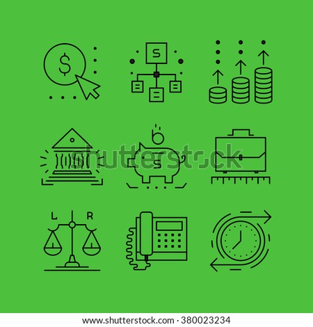Set of line vectors icons in the flat style. Business and Finance, Finance and investment, banking office, asset growth. - stock vector