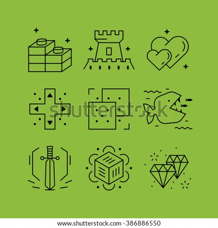 Set of line vectors icons in the flat style. Logical thinking, puzzle games, advertising and PR. - stock vector