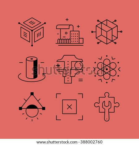 Set of line vectors icons in the flat style. Structural Engineering, creative technology, 3D design. - stock vector
