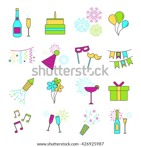 Set of Line Web Icons of Party, Celebration, Birthday and Holidays. Vector celebrate  linear icons and design elements.