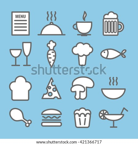 Set of linear food icons. Thin restaurant icons for web, print, mobile apps