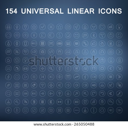 Set of linear icons. Business and finance, web, media, photos and videos, office on a blurry background.
