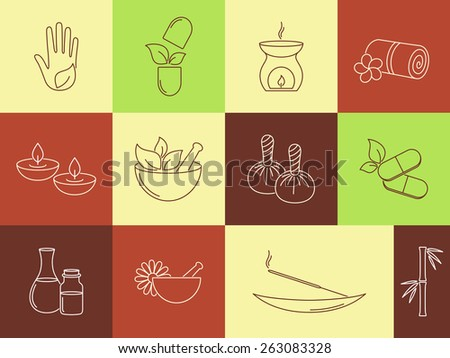 Set of linear icons for SPA, ayurveda, beauty treatment and health care - stock vector