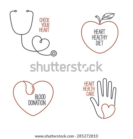 Set of linear medical icons and emblems for heart health, cardiology and blood donation