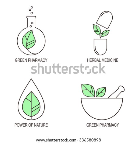 Set of linear medical icons and emblems for herbal medicine and green pharmacy