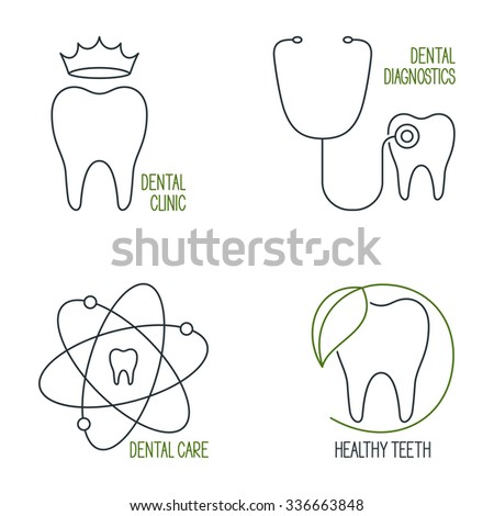 Set of linear medical icons and emblems for teeth health care, dentistry and dental clinic