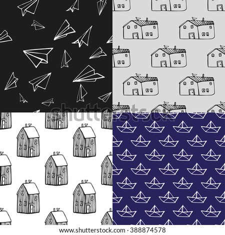 Set of linear  patterns with houses paper ships and paper planes. Hand drawn backgrounds. - stock vector