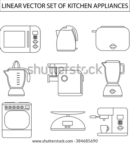 Set of linear vector kitchen appliances. Microwave, electric kettle, toaster, blender, meat grinder, juicer, oven, scales, coffee machine or espresso machine, maker. For print or web.Shopping cooking  - stock vector