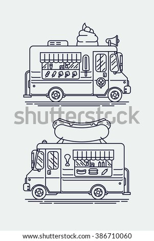 Set Of Linear Vector Trendy Flat Icons On Street Food Vehicles With Ice Cream Van And