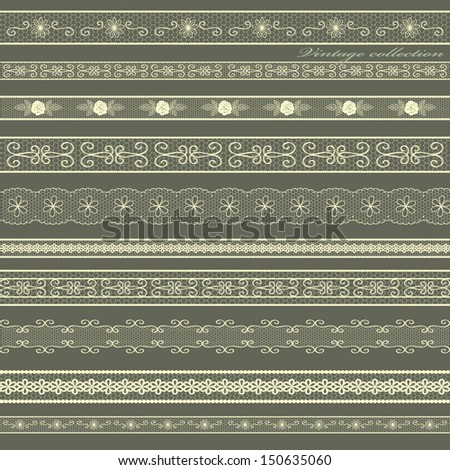 Set of lines of vintage lace. Vector design. - stock vector