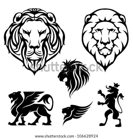 Set of lion - stock vector
