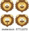 set of lion expressions - stock vector