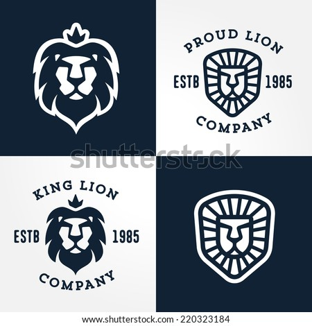 Set of Lion logo templates, for your business, collection of symbols to convey idea of strength power pride honor  guard security heritage and traditions - stock vector