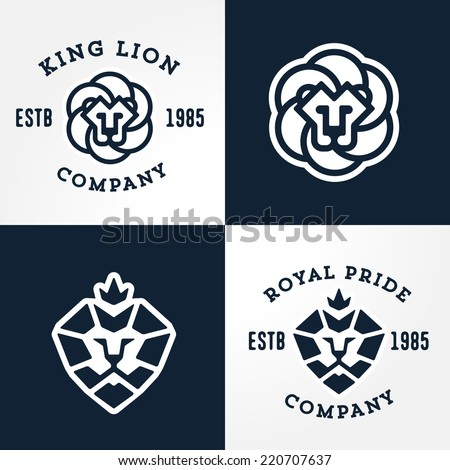 Set of Lion logo templates, for your business, collection of symbols to convey idea of strength power pride honor  guard security heritage and traditions. Vol. 2