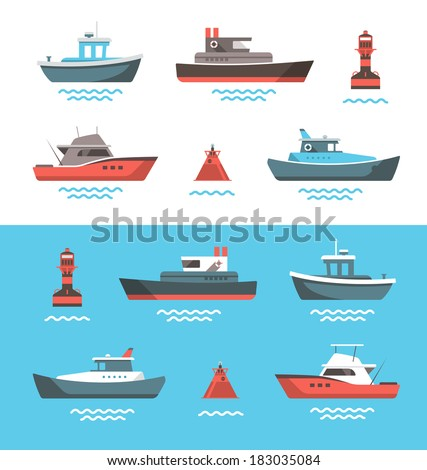 Set of little boats and buoys with blue sea background and isolated on white. Side view illustration. - stock vector