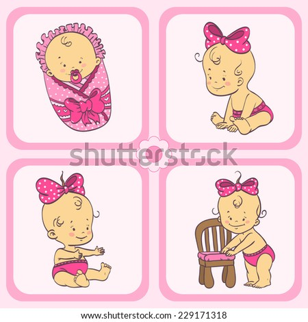 Set of little girl  - stock vector