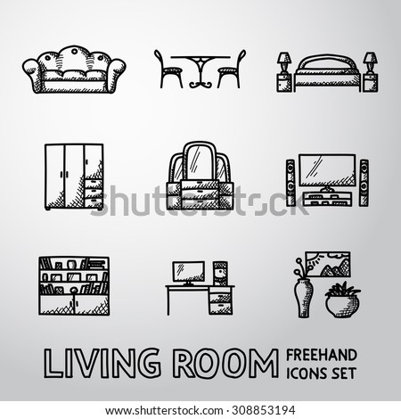 Set of Living Room freehand icons with - sofa, dining table, bed, cupboard, mirror, tv, bookshelf, working table, vases with picture. Vector