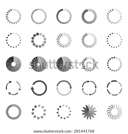 Set of loading status icons, vector illustration - stock vector