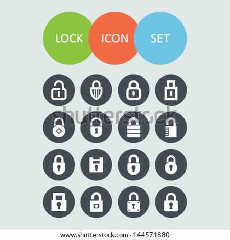 Set of lock icons - stock vector