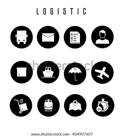 Set of logistic and shipping icons in flat style.