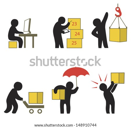 Set of Logistics Pictogram in Stick Figure Style. Abstract Illustration about Working People. Delivery Service