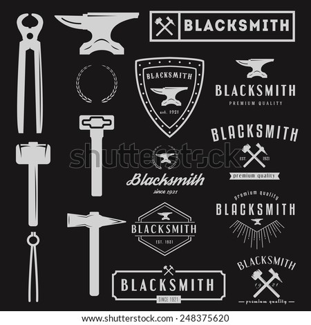 Set of logo and logotype elements for blacksmith - stock vector
