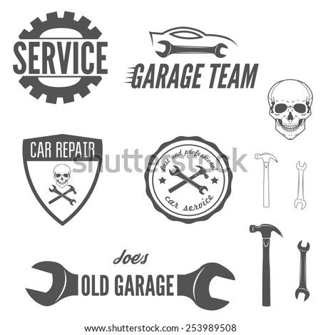 Set of logo, badge, emblem and logotype element for mechanic, garage, car repair and auto service - stock vector