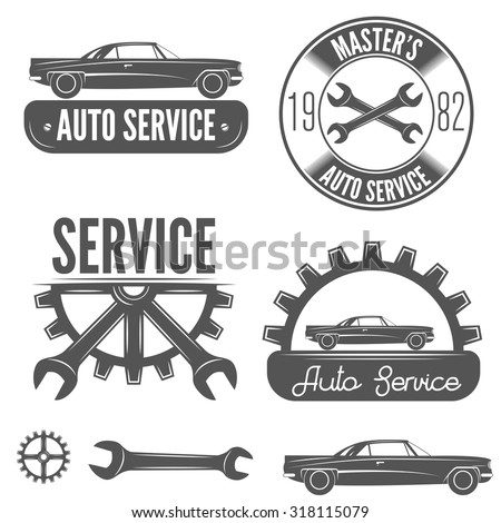 Set logo badge emblem logotype element stock vector for Garage automobile reparation