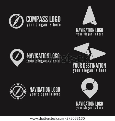 Set of logo, badge, label, emblem or logotype elements for navigation, map, web, business compass and other design - stock vector