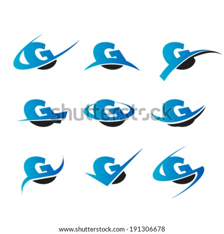 Set of logo icons with the letter G - stock vector