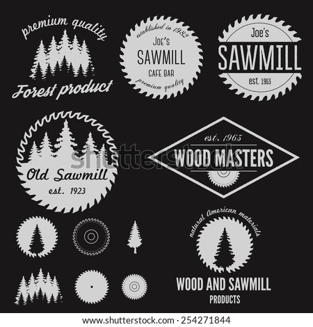 Set of logo, labels, badges and logotype elements for sawmill, carpentry and woodworkers - stock vector