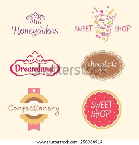Set of logo templates for confectionery, bakery. Candy store. Candy and cookies. Bright, festive style. - stock vector