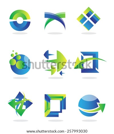 Set of logo vector design icons of various shapes like arrows, rectangles, spheres