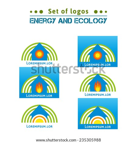 Set of logos about energy and ecology, heating homes. Gas, gas heating. Hot water in the batteries and pipes. Heating in winter. Clean Energy. Renewable energy. Alternative energy sources. - stock vector