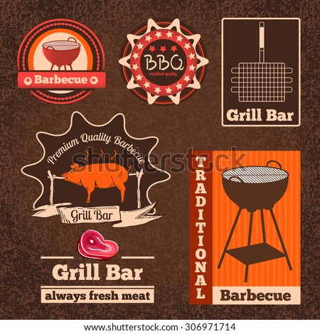 Set of logos, badges and labels for restaurant and cafes. Vector illustration. BBQ, barbecue, picnic, camping logo.Vintage style - stock vector