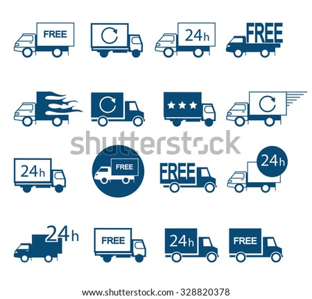 Set of logos delivery vehicles  in different versions - stock vector