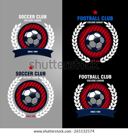 set of logos, emblems on the theme of soccer, football. design concept of football icons - stock vector