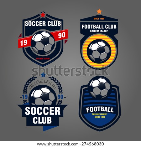 set of logos, emblems on the theme of soccer, football. design concept of football icons, Printing on T-shirts - stock vector