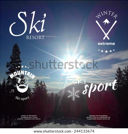 Set of logos for ski and snowboard on a background of a winter landscape . Vector illustration . - stock vector