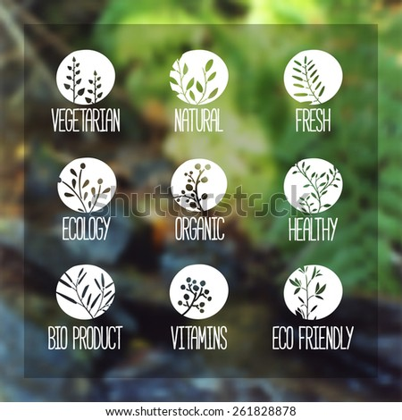 Set of logos, icons, labels, stickers or stamps. Silhouettes of twigs, leaves, plants, berries. Blurred vector background with nature silhouette forest. Vector - stock vector