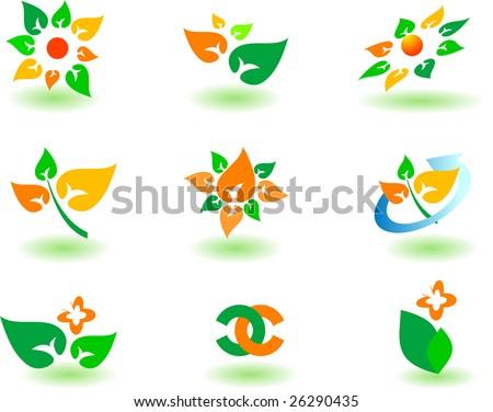 set of logos - nature - stock vector